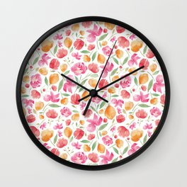 Japanese Summer Blooms Wall Clock