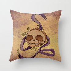 Skull and ribbon  Throw Pillow