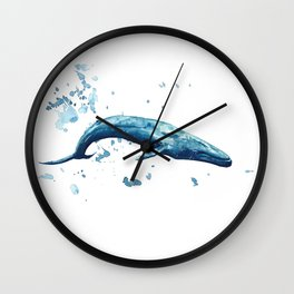 Blue Whale Watercolor Painting Wall Clock
