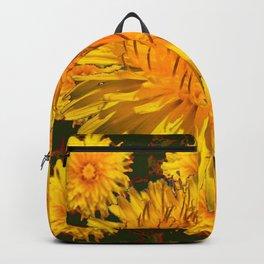 YELLOW DANDELIONS  & DARK MOSS GREEN ART DESIGN Backpack