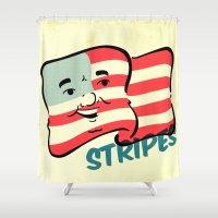 stripes Shower Curtains featuring Stripes by Derek Eads