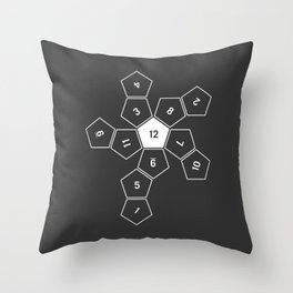 Grey Unrolled D12 Throw Pillow