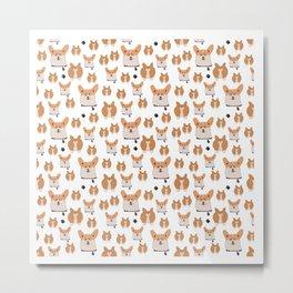 Happy corgi pattern Metal Print