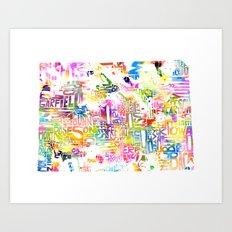 Typographic Colorado - multi watercolor Art Print
