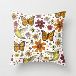 birds butterflies and blooms Throw Pillow