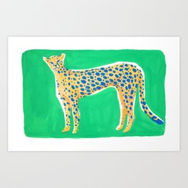 Leopard - Green Art Print