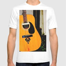 Peace, Love, Music White MEDIUM Mens Fitted Tee
