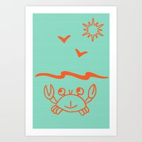 crab Art Prints featuring crab by gzm_guvenc