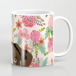 Boxer dog breed floral pattern background pet gifts dog breed dog mom gifts Coffee Mug
