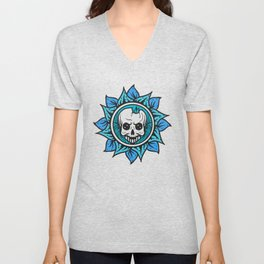 skull of the flower Unisex V-Neck