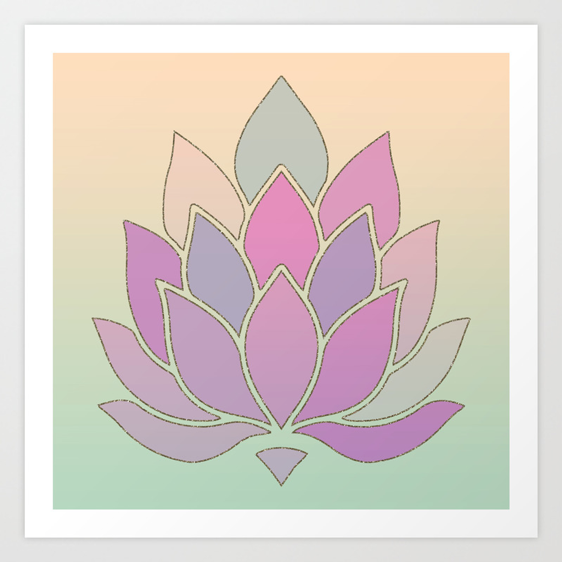 Lotus Flower Pastel Meditation Yoga Symbol Art Print By Ruthart Society6