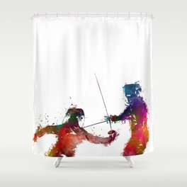 Fencing sport art #fencing Shower Curtain