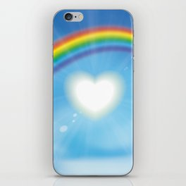 Rainbow sky sun heart iPhone Skin