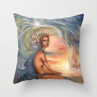 siren Throw Pillows featuring Siren by Erica Wexler