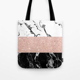 Modern black white marble rose gold color block stripes pattern Tote Bag