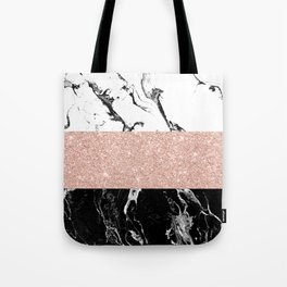Modern black white marble rose gold color block stripes pattern Tote Bag