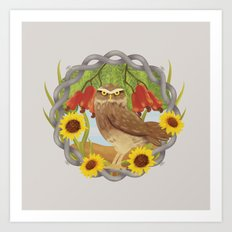 cashew and owl Art Print