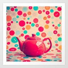 Pot dots, Red Teapot Art Print