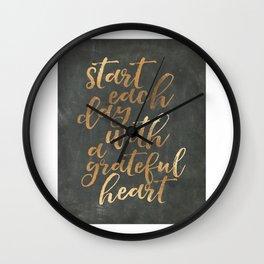 CHALKBOARD WALL ART, Start Each Day With A Grateful Heart,Thankful Heart,Motivational Quote,Inspirat Wall Clock