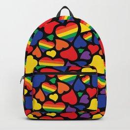 Retro Rainbow LGBT Pride Hearts Backpack