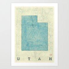 Utah State Map Blue Vintage Art Print
