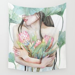 Lena Holding Proteas and Surrounded by Lotus Leaves Wall Tapestry