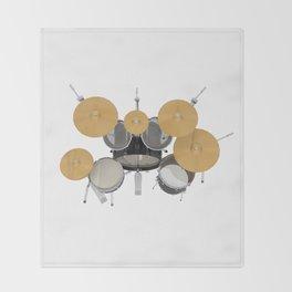 Black Drum Kit Throw Blanket
