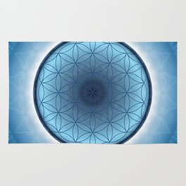 Flower of Life blue 2 Rug
