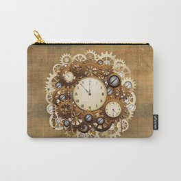 Steampunk Vintage Style Clocks and Gears Carry-All Pouch
