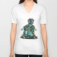 boho V-neck T-shirts featuring BOHO HOBO by Pumpkin Snipes