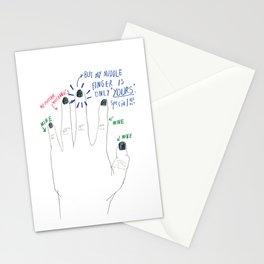 midder finger Stationery Cards