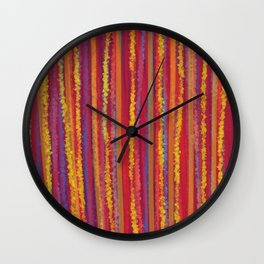 Stripes  - Cheerful yellow orange red and blue Wall Clock