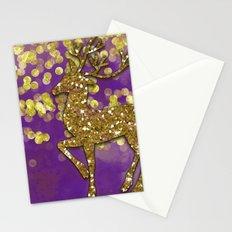 Purple Christmas golden glitter deer Stationery Cards