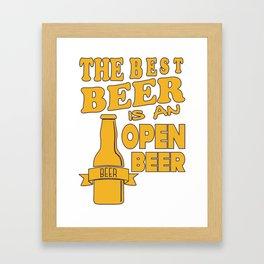 open beer - I love beer Framed Art Print