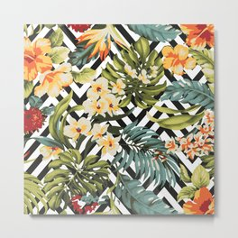 Flowered Chevron Metal Print