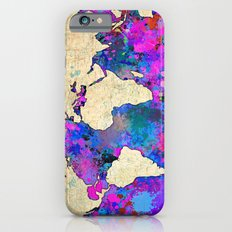 Magenta World Map iPhone 6 Slim Case
