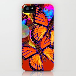 DECORATIVE MONARCH BUTTERFLIES & SOAP BUBBLES  ON TURMERIC  COLOR ART iPhone Case