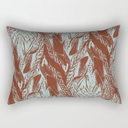 Duck Feather Back Graphic Teal and Brown Tile Rectangular Pillow