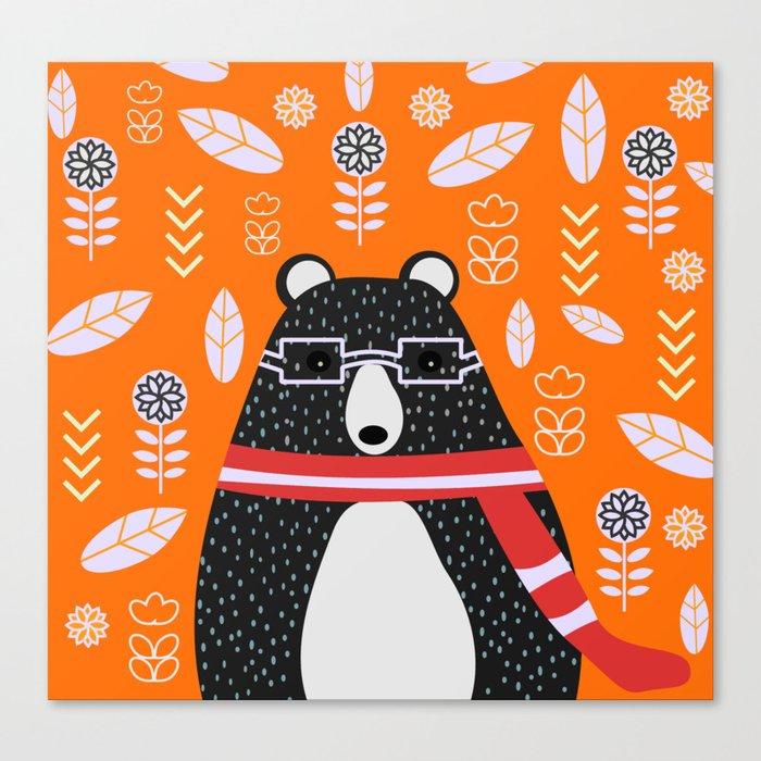 Bear in floral rain Canvas Print