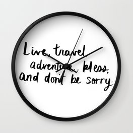 Live, Travel, Adventure Wall Clock