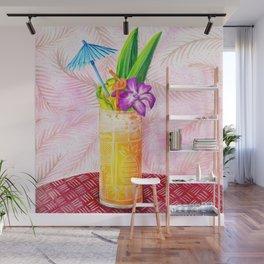 Tiki Drinks no.1 - gouache painting Wall Mural