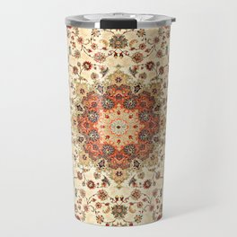 N71 - Orange Antique Heritage Traditional Moroccan Style Mandala Artwork Travel Mug