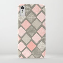 Tan and Blush Argyle with Texture iPhone Case