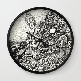 My City Driven by Fire Into the Sea Wall Clock