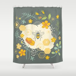 Little Bee and Buttercups Shower Curtain