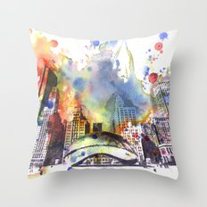 Chicago Bean Cityscape Watercolor Painting Throw Pillow