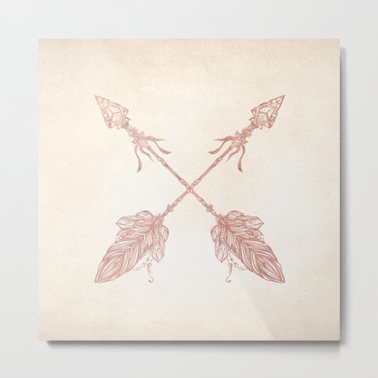 Tribal Arrows Rose Gold on Paper Metal Print