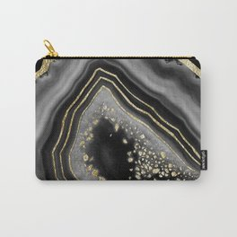 Black Night Agate Gold Foil Glam #2 #gem #decor #art #society6 Carry-All Pouch