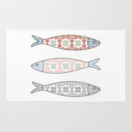 Traditional Portuguese icon. Colored sardines with typical Portuguese tiles patterns. Vector illustr Rug