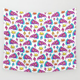 Crazy space alien pizza attack! Wall Tapestry